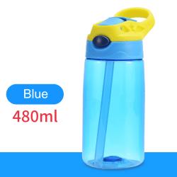 480 ml barnvattenflaska bärbar sugkopp sugrör Blå
