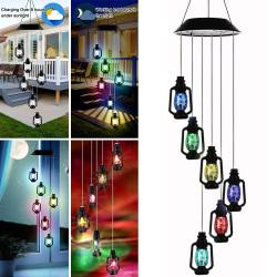 Trädgård Dekor Fotogenlampa Vind Chimes LED-lampor färgbyte Svart