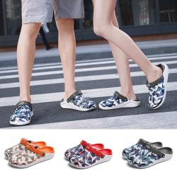 Unisex mode tryckta tofflor sommar strandskor sandaler Grå 36