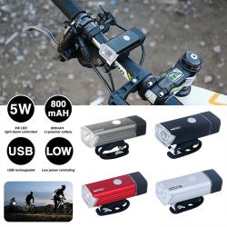 Cykel Frontlampa LED USB uppladdningsbart strålkastare Cykling Svart