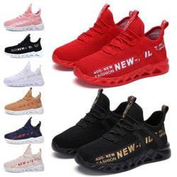Barn pojkar och flickor andas casual skor löparskor Svart Vit 35