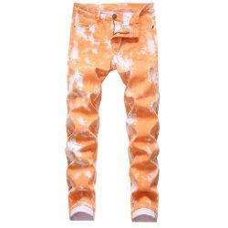 Casual Tie-Dye Jeans för män med raka ben Stretch Slim Fit orange 28