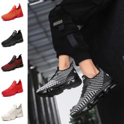 Mäns slip-on sneakers plattform casual skor löparskor Röd Svart 40