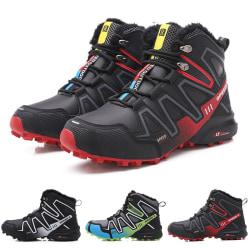 Varma vinterskor för män vandringsskor mode nya korta stövlar Svart Röd 40