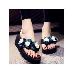 Dam kile blomma tofflor mode sandaler strandsandaler flip flops blå 41