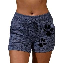 Dam Sweatshorts Kattens Tass Tryckt Tillfällig Hot Pants Shorts Mörkblå M