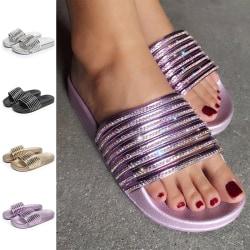 Dam vattentäta strandskor diamant tofflor mode sandaler svart 40
