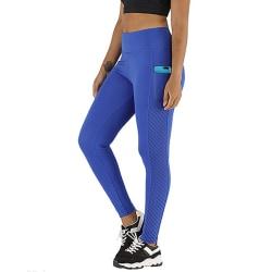 Dam Yoga Byxor Leggings Running Fitness Stretch Pants Blå S