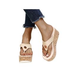 Damer casual tofflor flip flops sandaler mode sandaler kaki 36