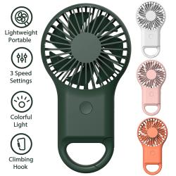 Handhållen fläkt USB bärbar klättringshängande nattlampa Grön
