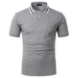 Herr enfärgad polotröja Kortärmad topptröja T-shirt Gray L