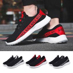 Herr jogging lätta casual löparskor mode tennis andas sneakers svart 42