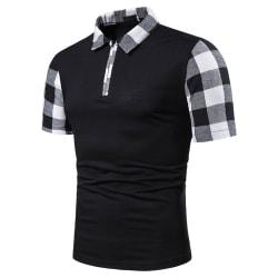 Herr Plaid Splicing Printed Polo Shirt Kortärmad toppskjorta Black L