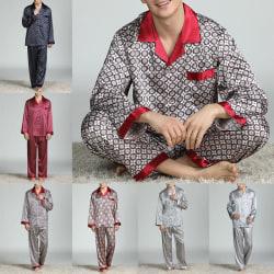 Herr Pyjamas Rutig Eller Vanlig Nattkläder Nighties Lounge Sets Silver XL