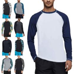 Herr Rash Guard Baddräkter Surfingskjortor UV-Skydd Strandkläder Marinblå XXL
