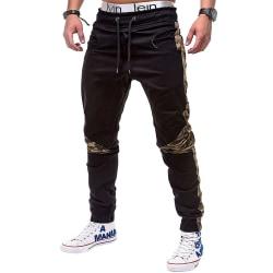 Herr Slim Byxor Casual Jogging Sweatpants Overall Pants Svart L
