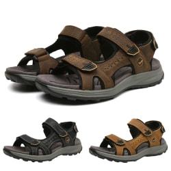 Herrskor läder plus storlek andas strandskor utomhus sandaler Mörkbrun 44