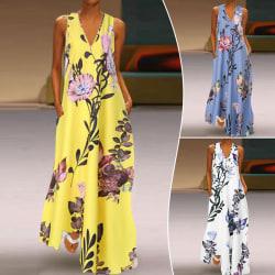 Kvinnor ärmlös V-ringad tryckt fickklänning Beach Dress Vit 5XL