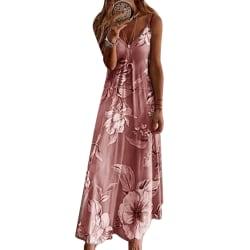 Kvinnor Kortärmad Klänning Sommar Loose Tie Dye Klänningar rosa M