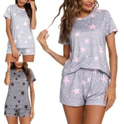 Kvinnor Stjärnor Tryckta Loungeset Home Pyjama Casual Nattkläder Svart XL