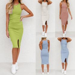 Kvinnors enfärgad Slim-Fit gängad slitsvästklänning Rosa S