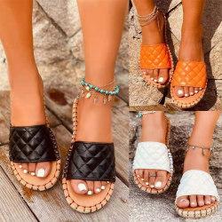 Kvinnors hemtofflor Platta strandskor Lätta sandaler svart 43