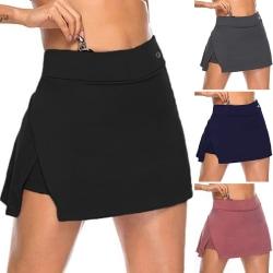 Kvinnors Hög Midja Split Kjol Enfärgad Yoga Golf Sportkläder Rosa S