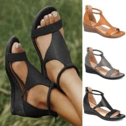 Kvinnors höga klackar Casual Kilklackar Klassiska mode sandaler Svart 38