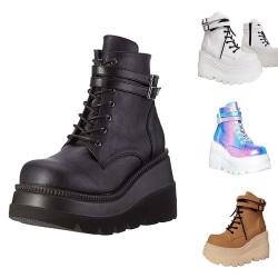 Kvinnors kil casual skor plattform höga klackar vackra skor Svart 37