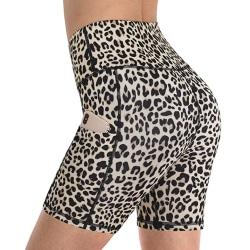 Kvinnors leopardtryck med hög midja, yoga, löparbyxor Beige XL