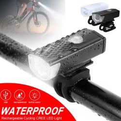 Laddningsbar cykelstrålkastarlampa framljus vattentät Svart