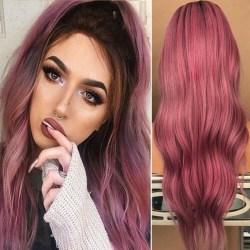 Lady Full lång lockig peruk Vågigt naturligt syntetiskt hår Lila