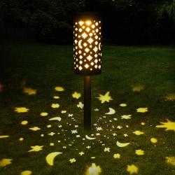 LED Hollow Star Moon Garden Vattentät ljusbelysning Svart