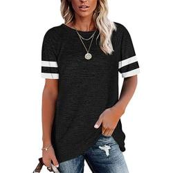 Lös T-shirt för kvinnor Casual kortärmad tröja Crew Neck topp svart L