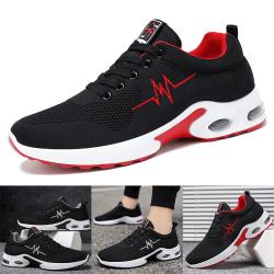 Luftdämpade sneakers för herrar som går avslappnade löparskor Svart Röd 44