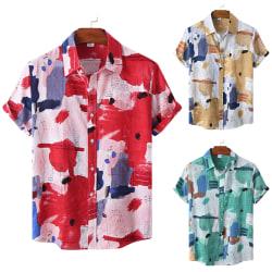 Män sommar lösa strandtoppar skjorta lösa tröjor Grön XL
