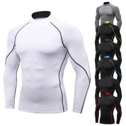 Mens Hög Krage T-shirt Långärmad Kompression Topp Sportkläder Black-Red XL