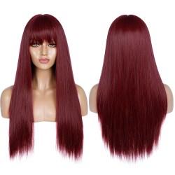 Mode kvinnors långa raka hår med lugg Cosplay Fest Stötta Rödvin