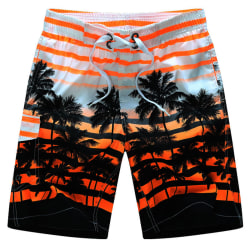 Strandshorts för män, elastisk rand, tryckt bekväm löst Orange 5XL