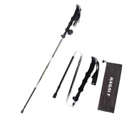 Trekking Pole Telescopic Adjustable Hiking Canes Alpenstock Black 135cm
