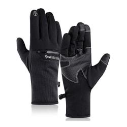 Unisex fullfingerhandskar Touch utomhus vindtätt vattentätt Svart XL
