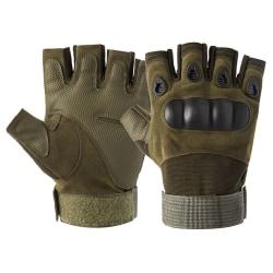 Unisex Half Finger Tactical Handskar Hard Knuckle Combat Jakt Grön M