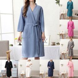 Unisex-Par V-Halsrockar Robes Badrock Långärmad Våffla Homewear Rosa M