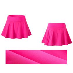 Veckad tenniskjol för damer med shorts som kör kort kjol rosröd S