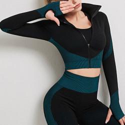 Yoga-sportjacka för kvinnor Toppar Jacka snabbtorkande Mörkgrön S
