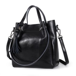 Handväskan i äkta koskinn K322S Svart one size