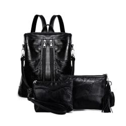 Ryggsäcken, axelremsväskan och cosmetic bag, äkta lammskinn 1040 Svart one size