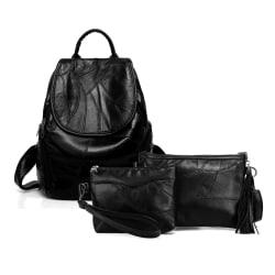 Ryggsäck, axelväska och kosmetisk väska, äkta fårskinn Svart one size