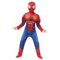 Spiderman deluxe 122/128 cl (7-8 år) muskeldräkt med mask