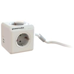 PowerCube Extended 4 uttag, 2 USB 1,5,m , Grå